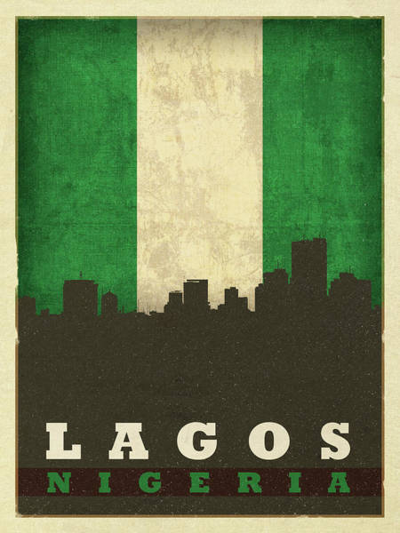 Wall Art - Mixed Media - Lagos Nigeria World City Flag Skyline by Design Turnpike