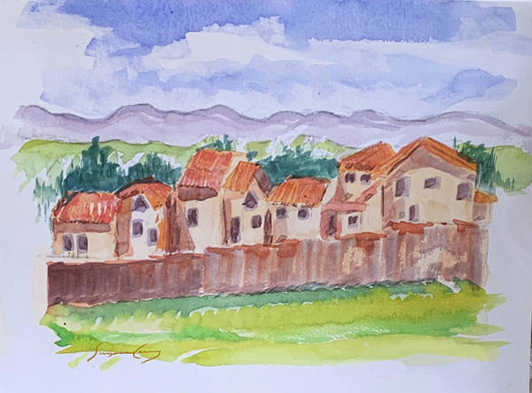 Painting - Laguna Del Sol Row Houses by Suzanne Cerny
