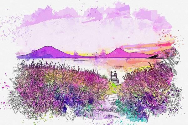 Painting - Lake Atitlan, Guatemala -  Watercolor By Ahmet Asar by Ahmet Asar