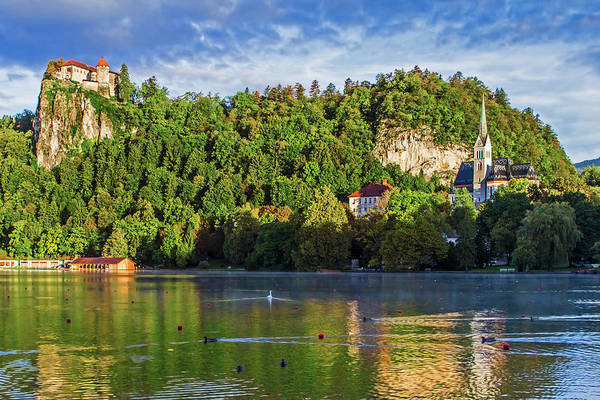 Wall Art - Photograph - Lake Bled, Castle Rises On Cliffs by Miva Stock