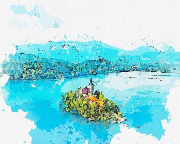 Painting - Lake Bled, Slovenia -  Watercolor By Ahmet Asar by Ahmet Asar
