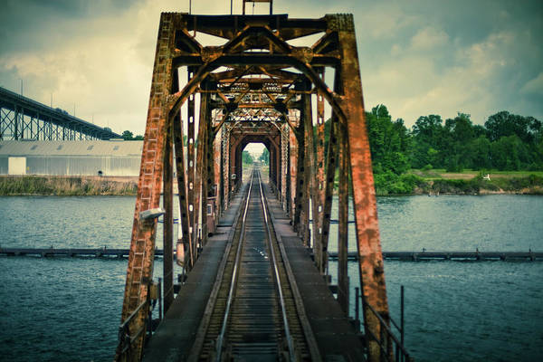 Louisiana Photograph - Lake Charles Railroad Bridge by Hal Bergman Photography