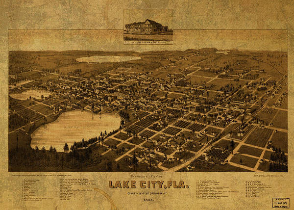 Wall Art - Mixed Media - Lake City Florida Vintage City Street Map 1885 by Design Turnpike