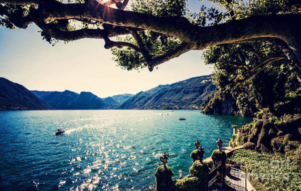 Wall Art - Photograph - Lake Como. People On A Boat Ride On The by Mervas