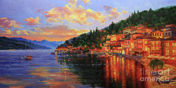 Lake Como Painting - Lake Como Sunset  by Gary Kim