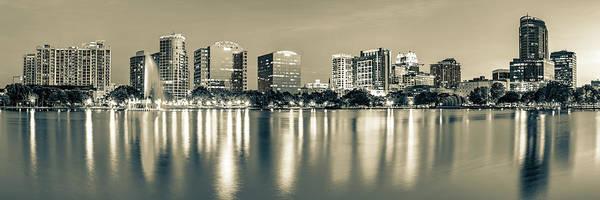 Photograph - Lake Eola Skyline Panorama - Orlando Florida Sepia by Gregory Ballos
