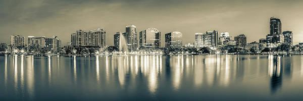 Photograph - Lake Eola Skyline Sepia Panorama - Orlando Florida by Gregory Ballos