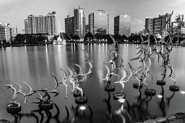 Photograph - Lake Eola Take Flight And Orlando Skyline - Monochrome by Gregory Ballos