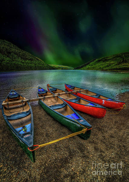 Photograph - lake Geirionydd Canoes by Adrian Evans