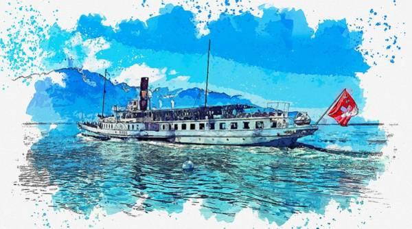 Painting - Lake Geneva , Montreux, Switzerland Watercolor By Ahmet Asar by Ahmet Asar