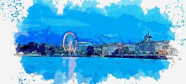 Painting - Lake Geneva , Switzerland Watercolor By Ahmet Asar by Ahmet Asar