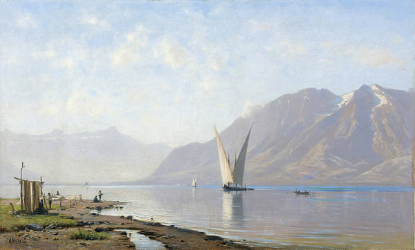 Painting - Lake Geneva by Auguste-Louis Veillon