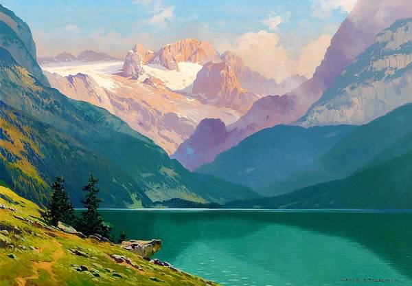 Wall Art - Painting - Lake Gosau With The Dachstein - Digital Remastered Edition by Toni Haller