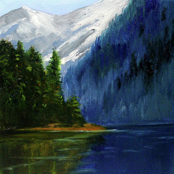 Wall Art - Painting - Lake In The Mountains by Nancy Merkle