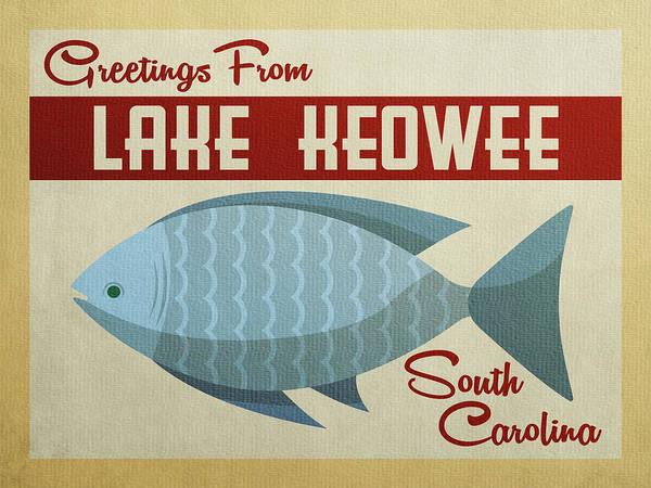 South Lake Digital Art - Lake Keowee South Carolina Blue Fish by Flo Karp