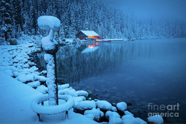 Canadian Rocky Mountains Photograph - Lake Louise Blue Morning by Inge Johnsson