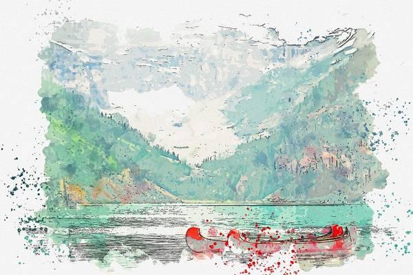 Painting - Lake Louise, Canada 2 Watercolor By Ahmet Asar by Ahmet Asar