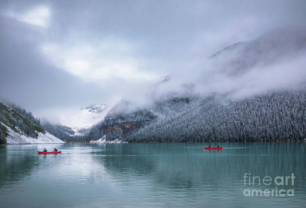 Canadian Rockies Wall Art - Photograph - Lake Louise Canoeing by Inge Johnsson