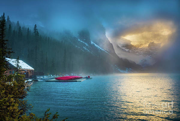 Wall Art - Photograph - Lake Louise Canoes In The Morning by Inge Johnsson