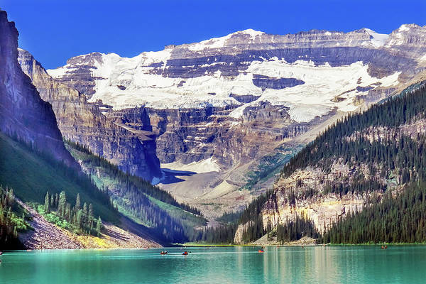 Wall Art - Photograph - Lake Louise Canoes, Leroy Glaciers by William Perry
