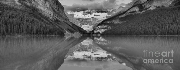 Wall Art - Photograph - Lake Louise Extra Wide Sunrise Panorama Black And White by Adam Jewell