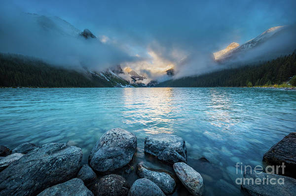 Canadian Rockies Wall Art - Photograph - Lake Louise Morning Clouds by Inge Johnsson