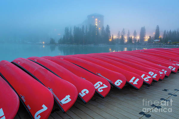 Wall Art - Photograph - Lake Louise Red Canoes by Inge Johnsson