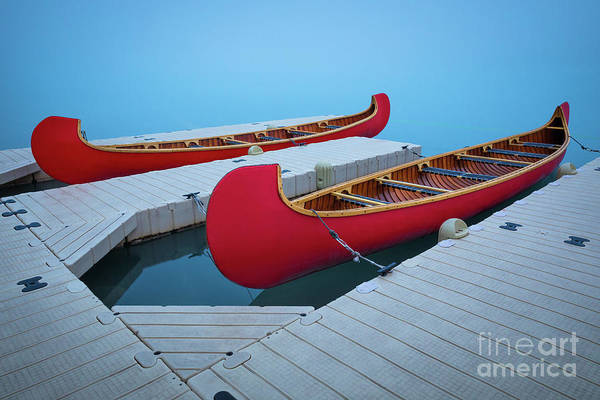 Canadian Rockies Wall Art - Photograph - Lake Louise Two Canoes by Inge Johnsson
