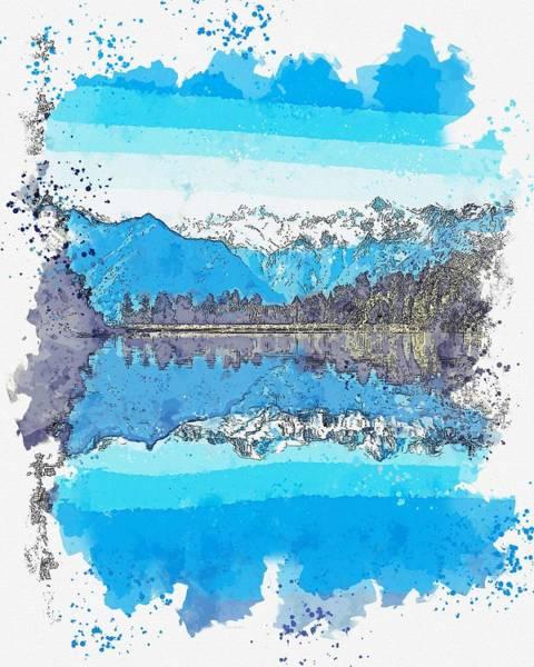 Painting - Lake Matheson, New Zealand Watercolor By Ahmet Asar by Ahmet Asar