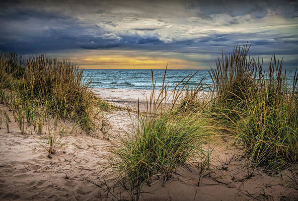 Photograph - Lake Michigan Beach At Sunset By Little Sable Point by Randall Nyhof