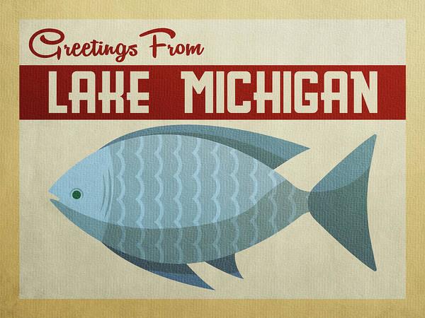Great Lakes Digital Art - Lake Michigan Blue Fish by Flo Karp