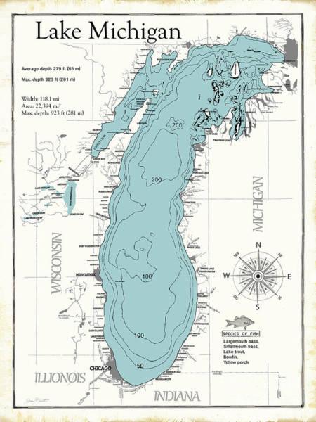 Wall Art - Digital Art - Lake Michigan Map by Jean Plout