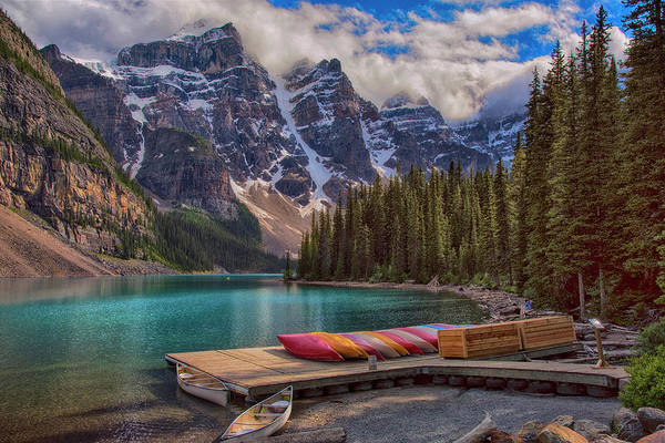 Wall Art - Photograph - Lake Moraine Canoes Canadian Rockies by Dave Dilli
