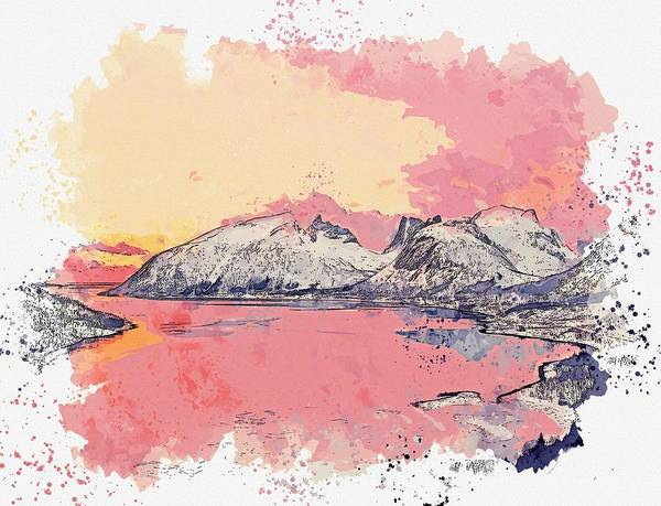 Painting - Lake Near Mountains, Watercolor By Adam Asar by Adam Asar