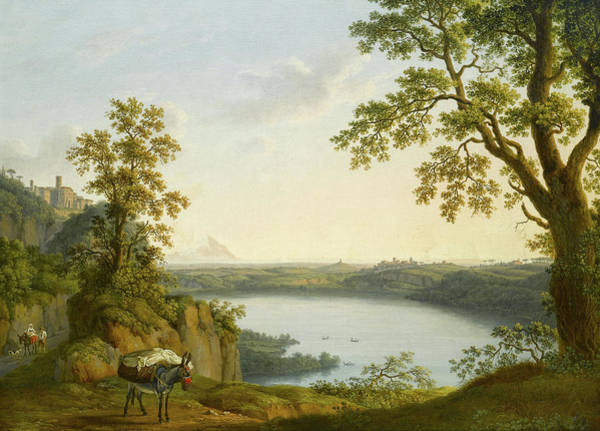 Wall Art - Painting - Lake Nemi From The North, With The Town Of Nemi And The Town Of Genzano by Jacob Philipp Hackert