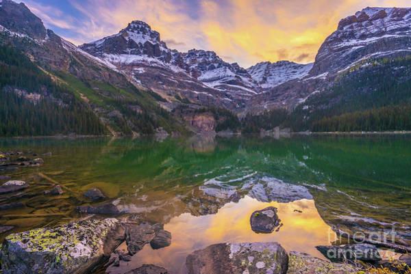 Moraine Lake Photograph - Lake Ohara Wiwaxy Peaks Sunrise by Mike Reid