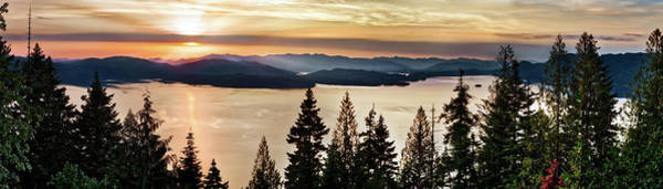 Photograph - Lake Pend Oreille Panoramic Gold by Leland D Howard
