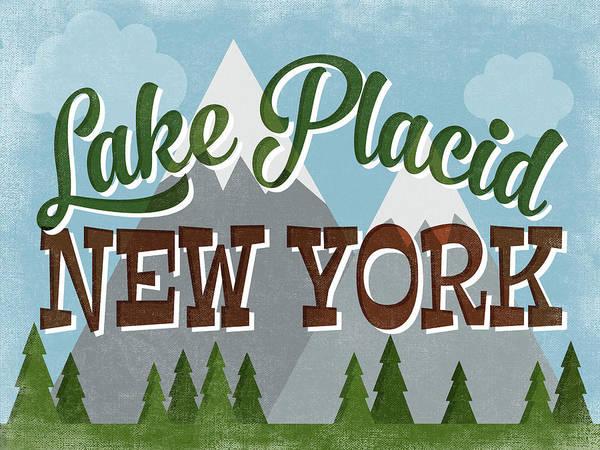 Great Lakes Digital Art - Lake Placid New York Retro Mountains by Flo Karp