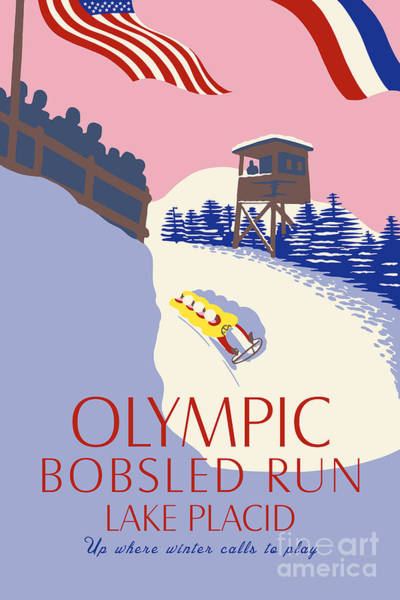 Drawing - Lake Placid Olympic Bobsled Run by Aapshop