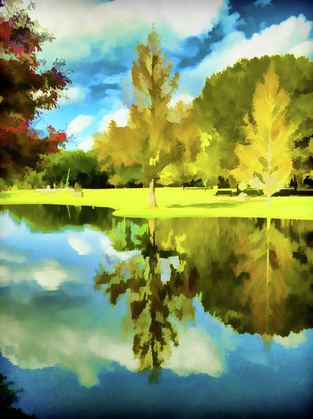 Photograph - Lake Reflection - Faux Painted by Bill Barber