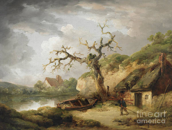 Wall Art - Painting - Lake Scene With Cottage by George Morland