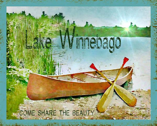 Oar Digital Art - Lake Sign-personalized Winnebago by Jean Plout