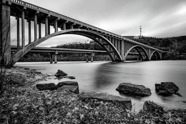 Photograph - Lake Taneycomo Bridge  - Branson Missouri - Black And White by Gregory Ballos