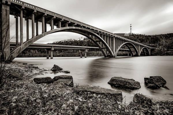 Photograph - Lake Taneycomo Bridge  - Branson Missouri - Sepia by Gregory Ballos