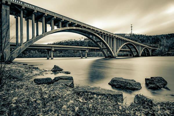 Photograph - Lake Taneycomo Bridge In Sepia - Branson Missouri by Gregory Ballos