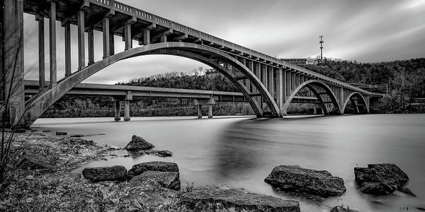 Photograph - Lake Taneycomo Bridge Panorama - Branson Missouri Monochrome by Gregory Ballos