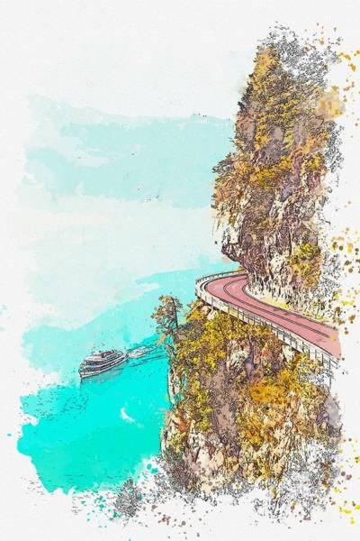 Painting - Lake Thun, Switzerland -  Watercolor By Ahmet Asar by Ahmet Asar