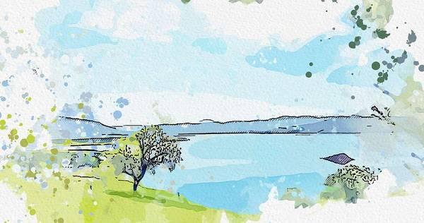 Painting - Lake Urmiya In Kurdistan Watercolor By Ahmet Asar by Ahmet Asar