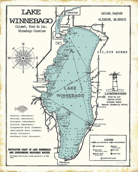 Nautical Digital Art - Lake Winnebago Wisconsin Map  by Jean Plout