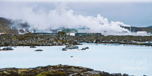 Photograph - Lake With High Amount Of Dissolved Mineral Salts And Thermal Power Plant In The Background, Blue Lagoon. by Joaquin Corbalan